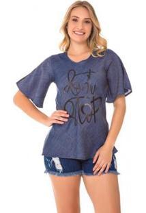 Blusa Jeans Express Júlia Feminina - Feminino-Azul