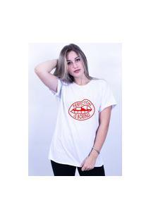 Camiseta Corte A Fio Bilhan Perfection Is Boring Gde Branca