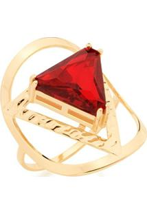 Anel Skinny Ring Com Cristal Triangular Rommanel - Feminino-Dourado
