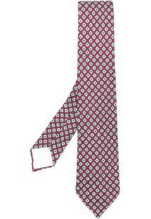Kiton Gravata De Seda Com Desenho Geométrico - Vermelho