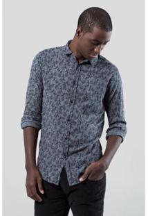 Camisa Pf Liberty Reserva Folhas Pinceladas Masculina - Masculino-Marinho