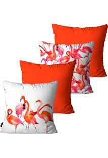Kit Com 4 Capas Para Almofadas Decorativas Laranja Flamingos 45X45Cm Pump Up
