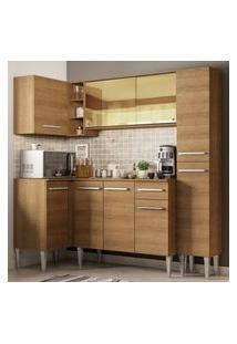 Cozinha Completa De Canto Madesa Emilly River Com Balcão E Armário Vidro Reflex Rustic Cor:Rustic
