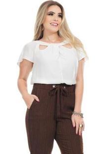 Blusa Clara Arruda Decote Detalhe 20612 Feminina - Feminino-Off White