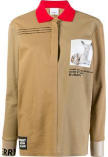 Burberry Camisa Polo Com Patch - Neutro