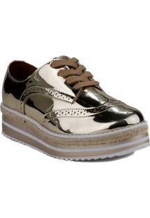 Sapato Oxford Feminino Vizzano Dourado/Branco