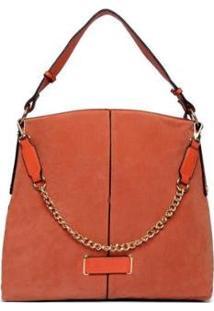 Bolsa Nice Bag Handbag Camurça Alça Corrente Feminina - Feminino-Marrom