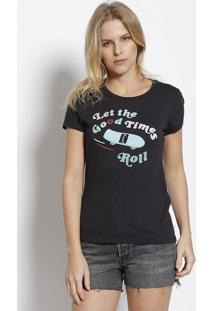 "Camiseta "" Let The Good Time Roll"" - Preta & Verde Águalevis"