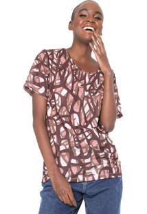 Camiseta Cantão Safari Marrom/Rosa