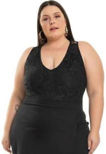 Body Plus Size Malha De Viscose E Renda Miss Masy Plus Feminino - Feminino-Preto