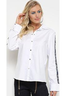 Camisa Morena Rosa Manga Longa Detalhe Galão Feminina - Feminino-Única