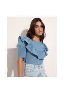 Blusa Jeans Com Babado Manga Curta Decote Redondo Mindset Azul Claro