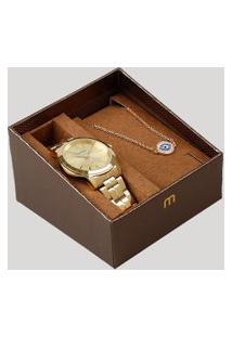 Kit De Relógio Analógico Mondaine Feminino + Pulseira - 99017Lpmvde2Kb Dourado