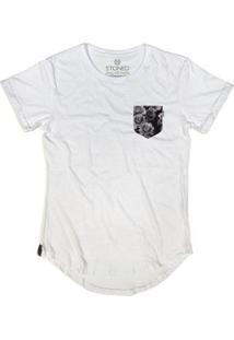 Camiseta Longline Stoned Fake Pocket Flowers Masculina - Masculino-Branco
