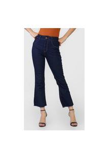 Calça Jeans Biotipo Flare Desfiada Azul-Marinho
