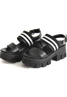 Sandália Tratorada Scarpan Calçados Finos Em Couro Preto E Tecido Listrado