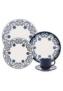 Aparelho De Jantar 30 Peças Floreal Energy Oxford Branco E Azul