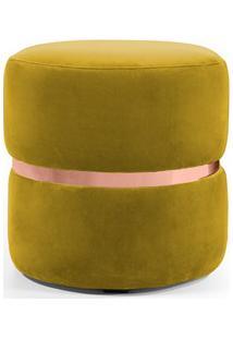 Puff Decorativo Com Cinto Rosê Round B-279 Veludo Amarelo - Domi