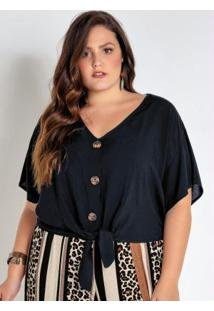 Camisa Plus Size Cropped Preta Com Amarração