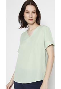Blusa Com Detalhe De Pespontos- Verde Claro & Bege- Miliore