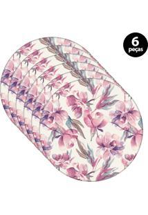 Sousplat Mdecore Floral 32X32Cm Rosa 6Pçs