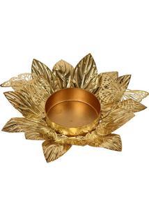 Castiçal De Metal Golden Flower Ii