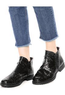 Bota Dafiti Shoes Glitter Zíper Preta