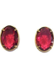 Brinco Armazem Rr Bijoux Cristal Swarovski Oval Vermelho Ouro Velho - Vermelho - Feminino - Dafiti