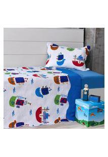 Kit Cobre Leito Infantil Solteiro Com Porta Travesseiro 2 Peças Flores - Bene Casa