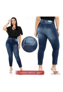 Calça Jeans Skinny Midi Plus Size Feminina Biotipo