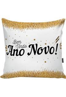 Capa Para Almofada Happy New Year- Branca & Preta- 4Stm Home