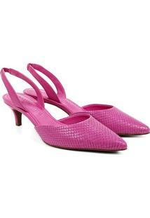 Scarpin Couro Loucos & Santos Animal Print Snake - Feminino-Pink