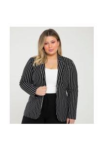 Blazer Listrado Curve & Plus Size | Ashua Curve E Plus Size | Preto | 48
