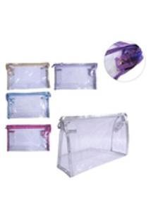 Necessaire Transparente Com Ziper E Botao + Vies Colors 23X1