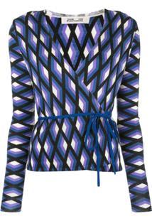 Diane Von Furstenberg Blusa Estampada Com Amarração - Azul