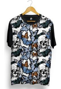 Camiseta Bsc Butterfly And Skull Full Print - Masculino-Preto
