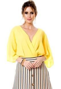 Body Bisô Crepe Feminino - Feminino-Amarelo
