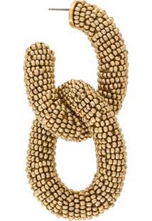 Oscar De La Renta Link Beaded Earrings - Dourado