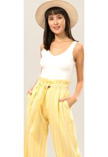 Calça Pantalona Listrada Cinto Amarelo Caramelo - Lez A Lez