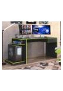 Mesa Escrivaninha Gamer Rubi Com 1 Gaveta - Preto/Verde
