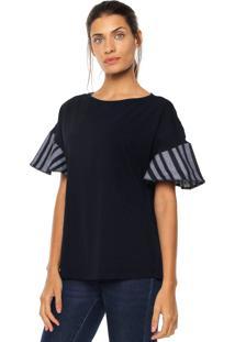 Camiseta Maria Valentina Destalhes Azul-Marinho