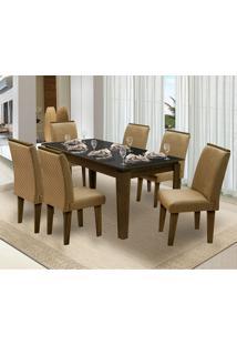 Mesa Para Sala De Jantar Saint Michel Com 6 Cadeiras – Dobuê Movelaria - Castanho / Preto / Kaki