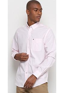 Camisa Tommy Hilfiger Ml Listras Bolso Masculina - Masculino
