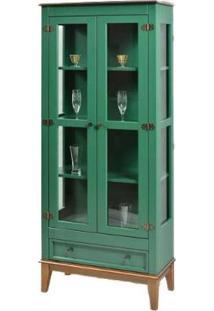 Cristaleira Remy Verde 2 Portas 1 Gaveta Base Amendoa 180Cm - 58755 - Sun House