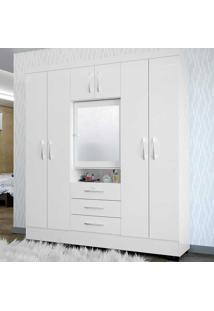 Guarda-Roupa Casal 7 Portas Com Espelho Grafite Branco - Colibri Móveis