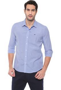 Camisa Colombo Reta Listrada Azul/Off-White