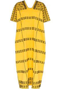 Pippa Holt Vestido Mangas Curtas - Amarelo
