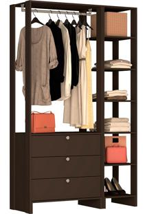 Guarda-Roupa Modulado Closet 102104 - Nova Mobile - Grafite Intenso