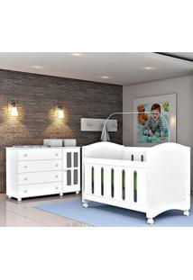 Conjunto Jogo De Quarto Baby Infantil Cômoda Arco-Íris Berço Dominó Plus Branco Brilho