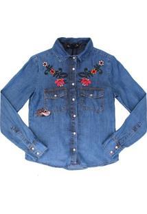 Camisa Jeans Authoria Com Bordado Flores - Feminino-Azul